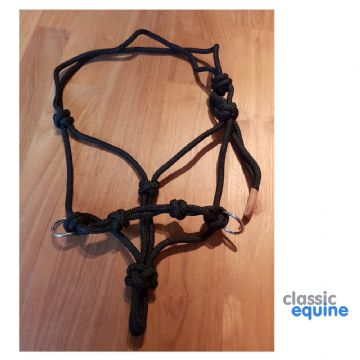 Natural Horsemanship Rope Halter with Rings  - Black